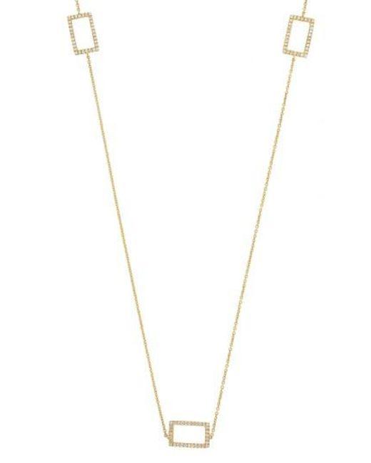 Bony Levy | Metallic Three Rectangle Diamond Station Necklace (nordstrom Exclusive) | Lyst