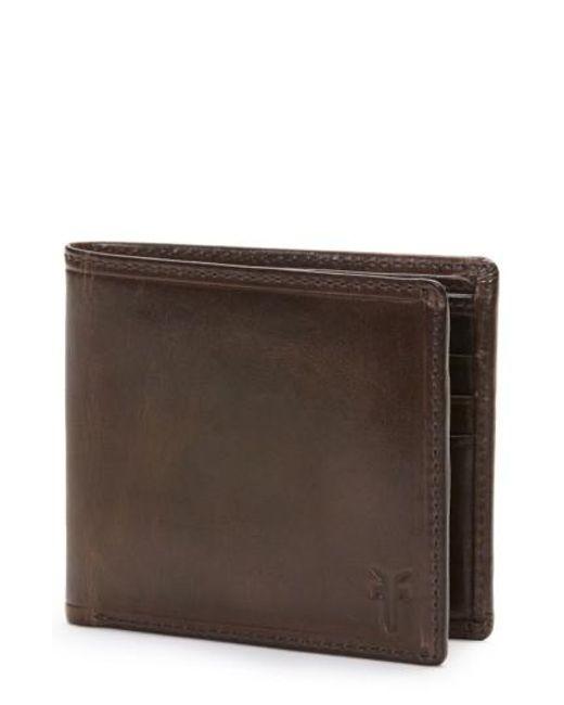 Frye - Brown 'logan' Leather Billfold Wallet for Men - Lyst
