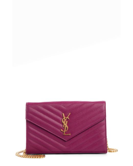 Saint Laurent Large Monogram Quilted Leather Wallet On A Chain - Purple