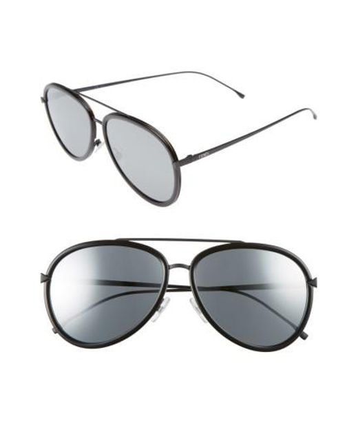 Fendi | 57mm Mirrored Lens Aviator Sunglasses - Havana Black | Lyst