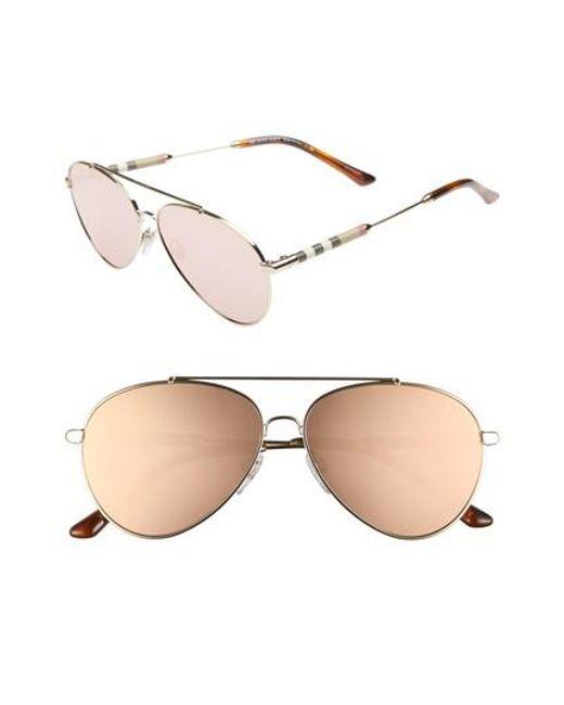 Burberry - Pink 57mm Mirrored Aviator Sunglasses - Lyst