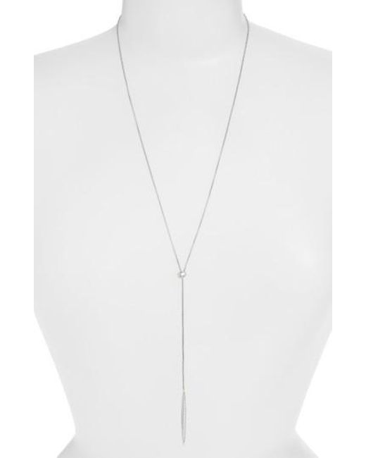 Nadri | Metallic 'tattoo' Encrusted Lariat Necklace | Lyst
