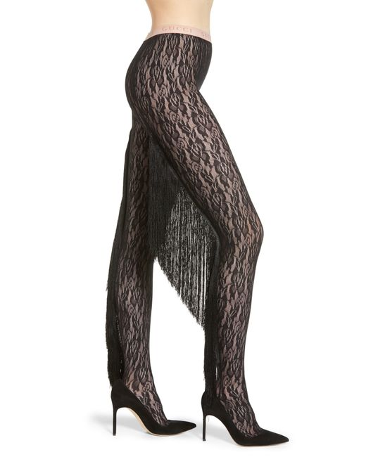 39edfc7ca Gucci - Black Fringe Floral Lace Tights - Lyst ...