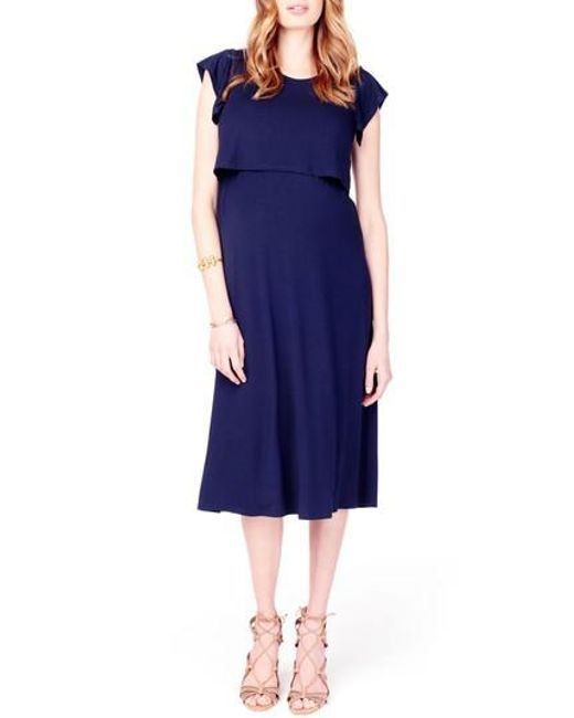Ingrid & Isabel - Blue Ingrid & Isabel Maternity/nursing Midi Dress - Lyst