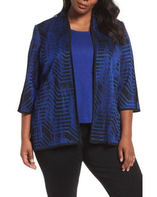 Ming Wang - Blue Jacquard Knit Jacket - Lyst