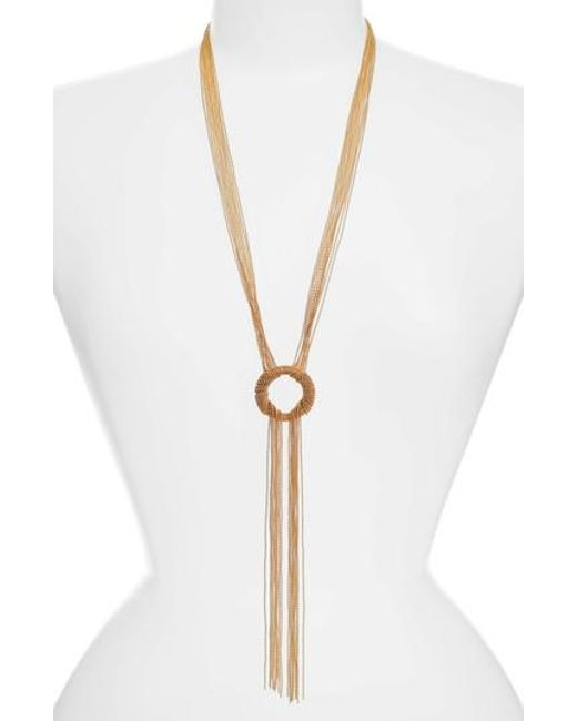 Karine Sultan | Metallic Jade Tassel Pendant Necklace | Lyst
