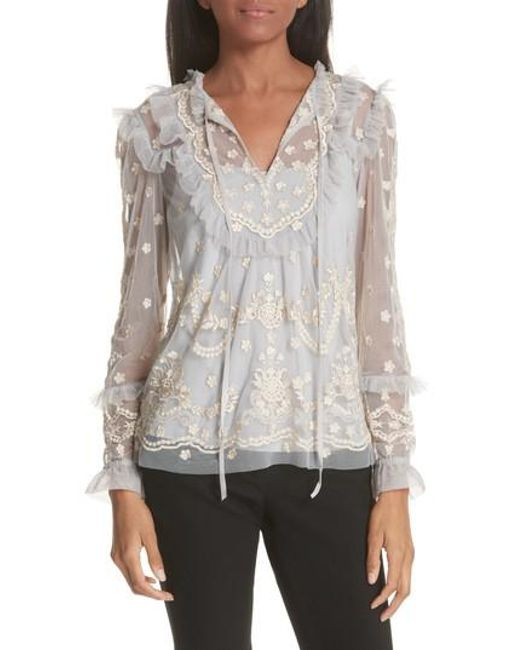 Needle & Thread - Multicolor Needle And Thread Flapper Embroidered Tulle Top - Lyst