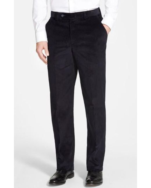 Berle   Blue Flat Front Corduroy Trousers for Men   Lyst