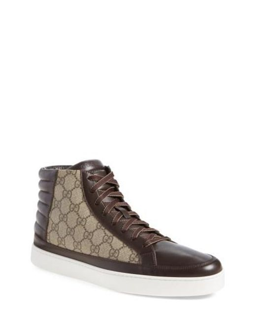 Gucci | Brown Common High-top Leather and Canvas Sneakers for Men | Lyst