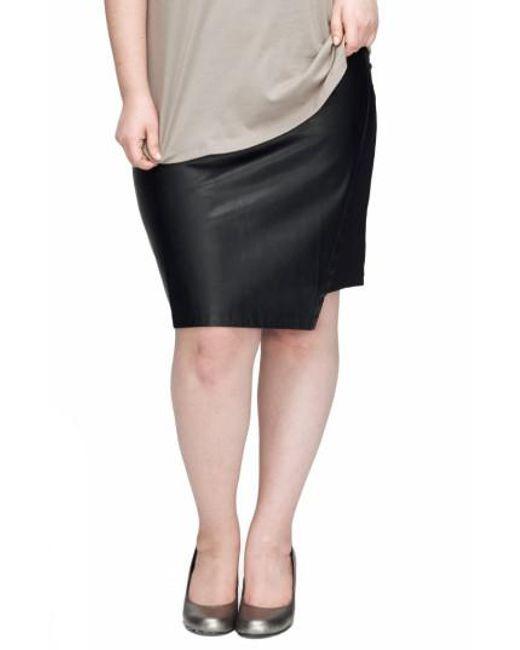 UNIVERSAL STANDARD | Black Mosman Faux Leather Front Skirt | Lyst