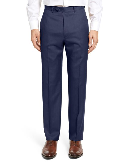 Santorelli - Blue Flat Front Twill Wool Trousers for Men - Lyst