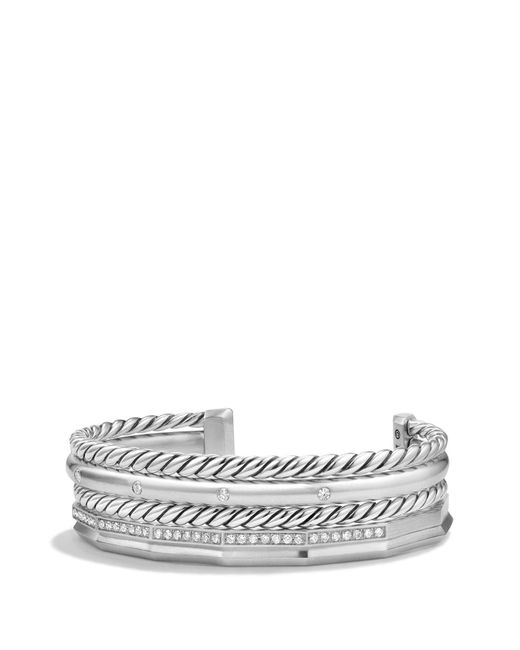 David Yurman - Metallic Stax Narrow Bracelet With Diamonds - Lyst