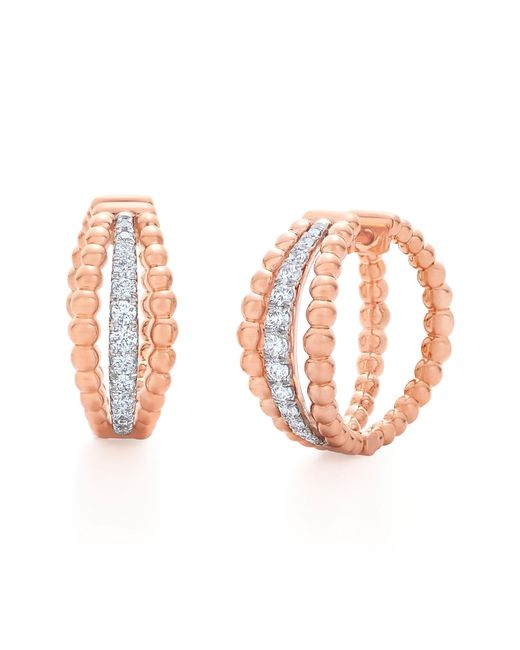 Kwiat - Multicolor Beaded Multirow Diamond Hoop Earrings - Lyst