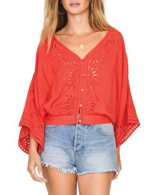 Amuse Society - Red Serenade Flare Sleeve Top - Lyst