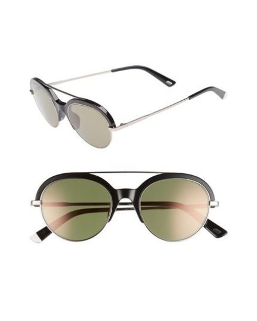 Web - 51mm Aviator Sunglasses - Shiny Black/ Green Mirror - Lyst
