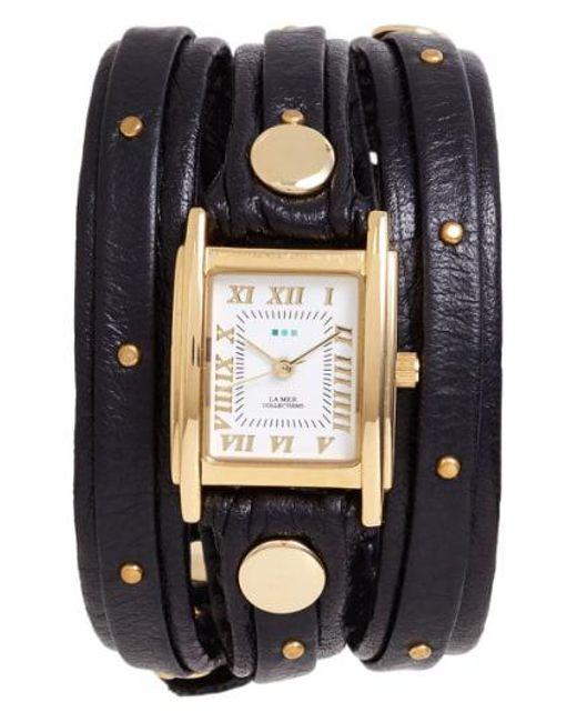 La Mer Collections - Brown Studded Leather Wrap Watch - Lyst