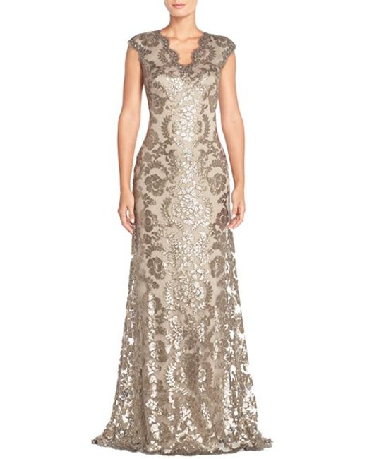 Tadashi Shoji | Metallic Sequin Lace Gown | Lyst
