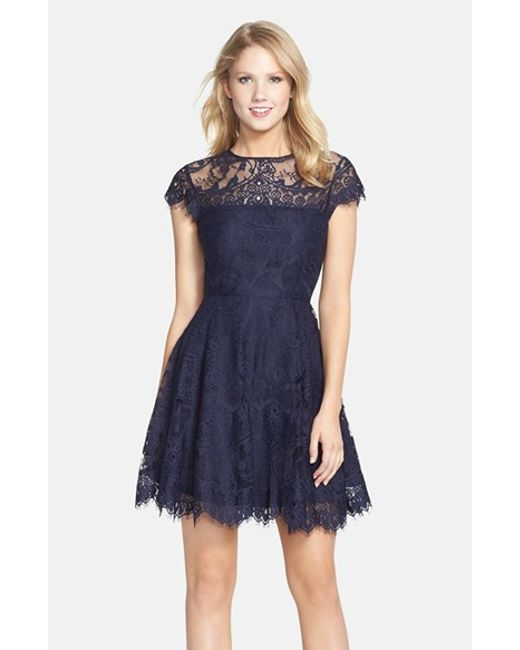 BB Dakota | Blue 'rhianna' Illusion Yoke Lace Fit & Flare Dress | Lyst