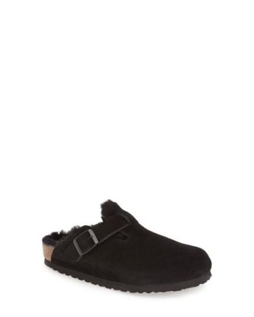 Birkenstock | Black 'Boston' Genuine Shearling Lined Clog | Lyst