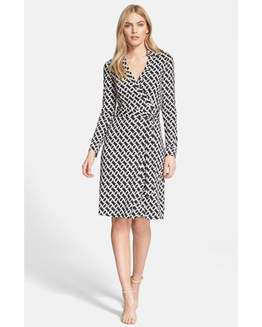 Diane von Furstenberg | Natural 'new Jeanne Two' Print Silk Wrap Dress | Lyst
