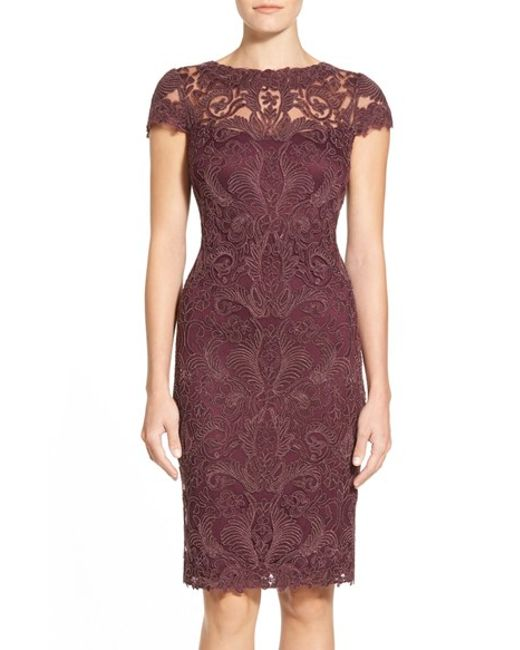 Tadashi Shoji | Purple Illusion Yoke Lace Sheath Dress | Lyst