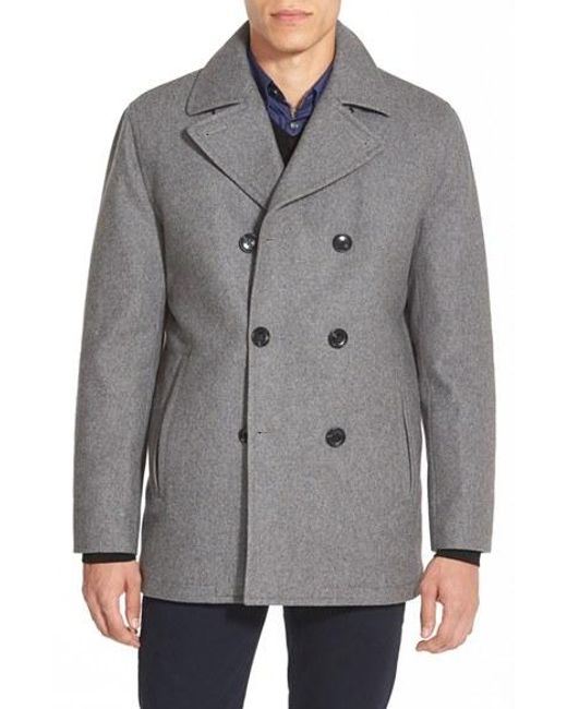 Michael Kors | Gray Wool-Blend Double-Breasted Peacoat for Men | Lyst