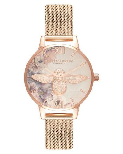 Olivia Burton - Multicolor Watercolor Floral Mesh Strap Watch - Lyst