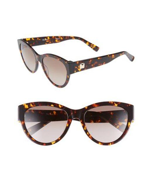 9e37a9393d0 Lyst - Max Mara Flat Iii 55mm Cat Eye Sunglasses - Havana Black in Black