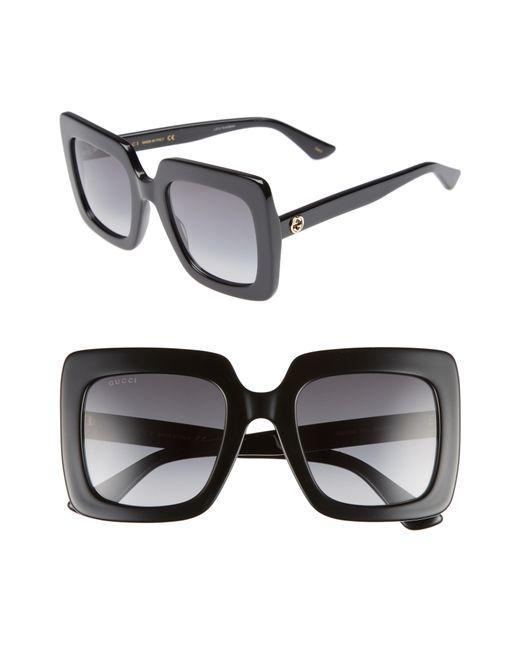 Gucci - Black 53mm Square Sunglasses - Lyst