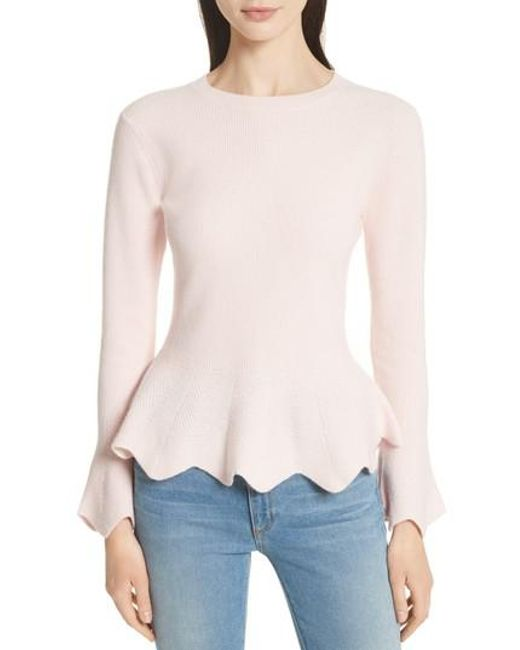 Ted Baker | Pink Peplum Sweater | Lyst