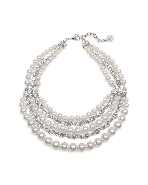 Ben-Amun - Metallic Crystal & Imitation Pearl Multistrand Torsade Necklace - Lyst