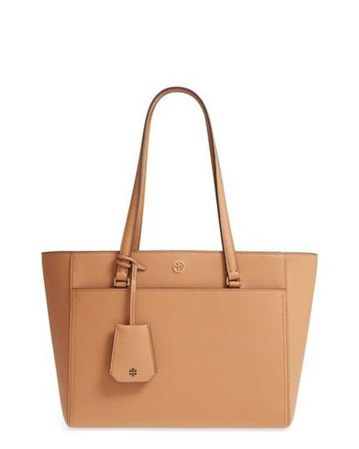 Tory Burch - Brown Small Robinson Leather Tote - - Lyst