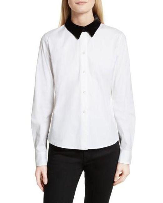 Theory | White Velvet Collar Stretch Cotton Shirt | Lyst