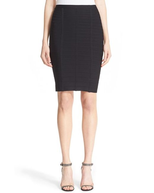 Hervé Léger | Black Bandage Pencil Skirt | Lyst