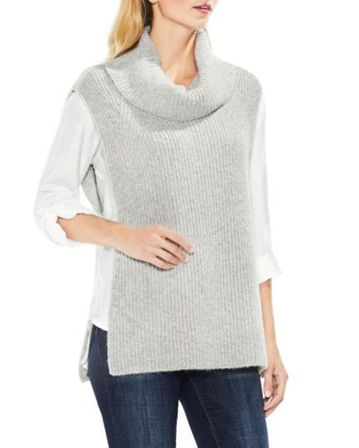 Two By Vince Camuto   Gray Sleeveless Ribbed Turtleneck   Lyst