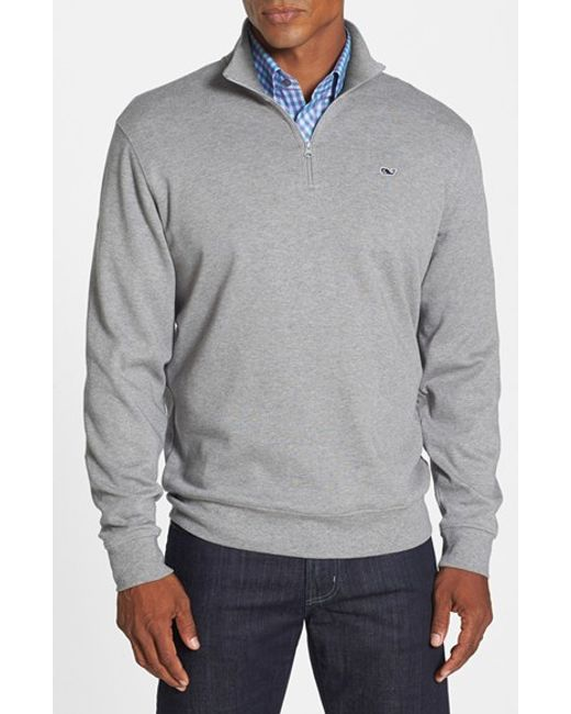 Vineyard Vines | Gray Quarter Zip Cotton Jersey Sweatshirt for Men | Lyst