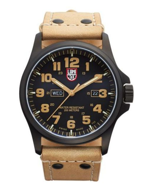 Luminox | Brown 'land - Atacama Field' Leather Strap Watch for Men | Lyst