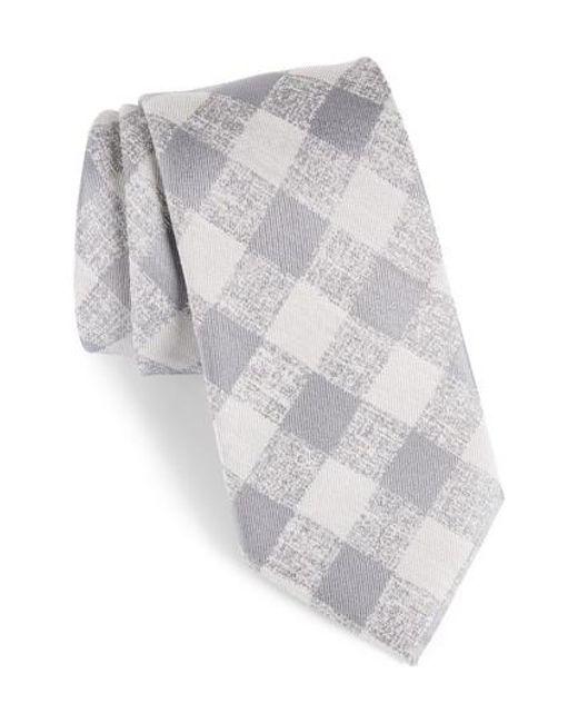 Calibrate | Gray Tigrane Check Silk & Cotton Tie for Men | Lyst