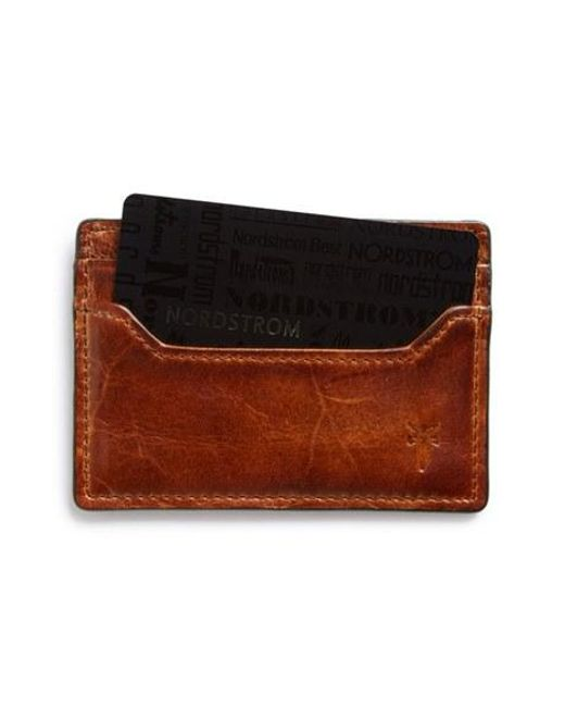 Frye | Brown 'logan' Leather Card Holder for Men | Lyst