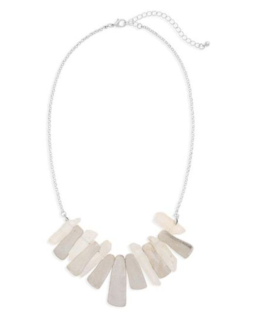 Panacea - White Pyrite Stone Necklace - Lyst