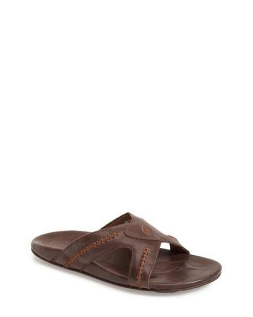 Olukai | Black 'mea Ola' Slide Sandal for Men | Lyst