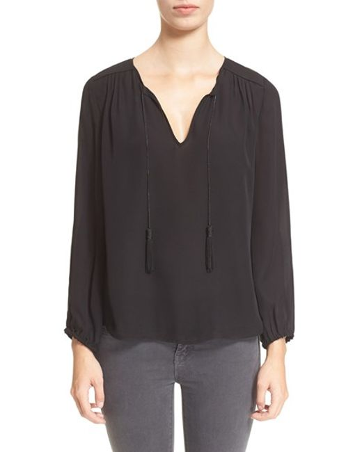 Joie | Black 'odelette' Silk Shirt | Lyst