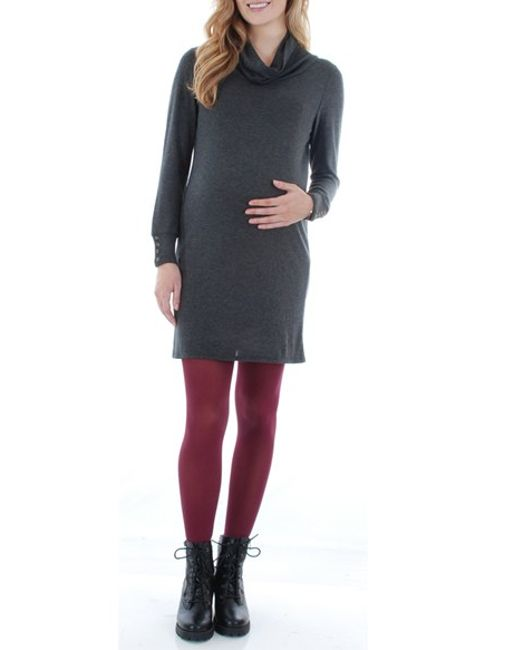 Everly Grey | Gray 'marina' Cowl Neck Maternity Sweater Dress | Lyst