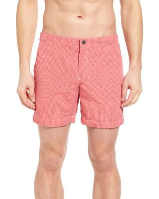 Boto | Pink Aruba Micro Check Tailored Fit 6.5 Inch Swim Trunks for Men | Lyst