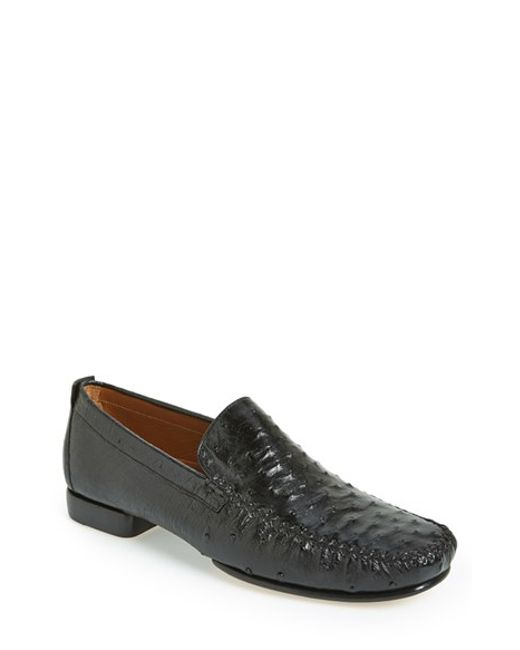 Mezlan | Black 'rollini' Ostrich Leather Loafer for Men | Lyst
