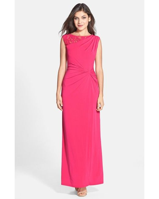 Ellen Tracy | Pink Lace Inset Twist Front Jersey Gown | Lyst