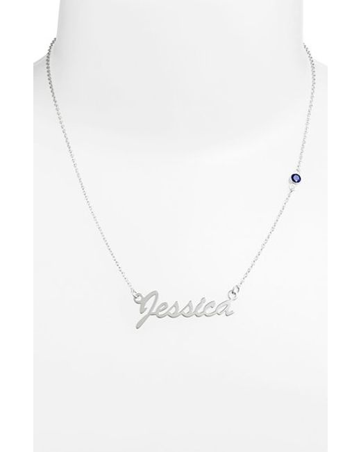 Argento Vivo   Blue Birthstone & Personalized Nameplate Pendant Necklace (nordstrom Online Exclusive)   Lyst
