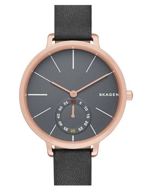 Skagen | Metallic 'hagen' Leather Strap Watch | Lyst