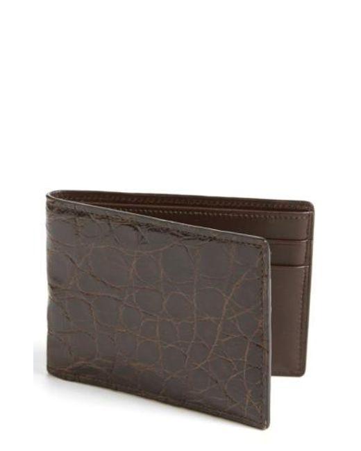 Boconi   Brown Crocodile Slimfold Wallet for Men   Lyst