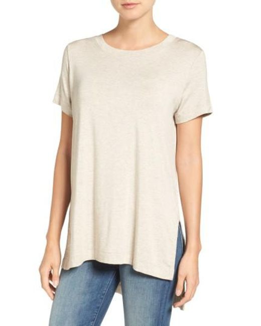 Amour Vert   Natural Paola High/low Tee   Lyst